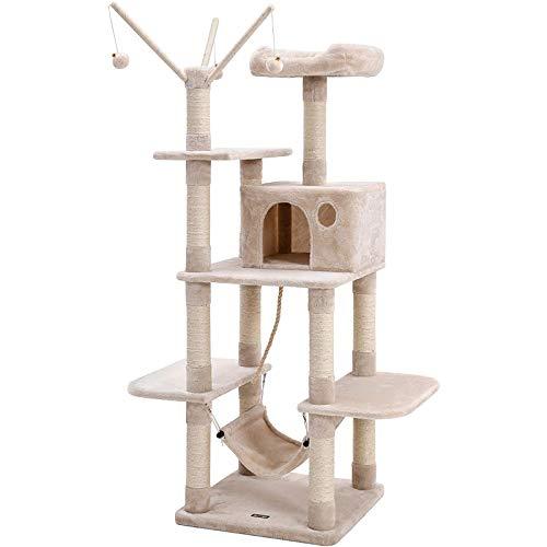 FYHpet Árbol para Gato con un Juguete de Punto de Juguete de Punto de Juego Scafracción de Juegos en Sisal Natural para 4 Plataformas Palacio de Gato, Beige