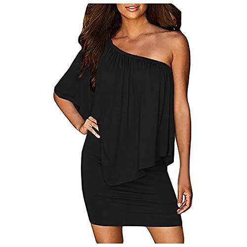 Mini abito nero stretto tinta unita, abito sexy da festa, abito da sera, abito elegante da donna, abito da sera, abito da sera, abito da sera grande, per il tempo libero, Nero , XL