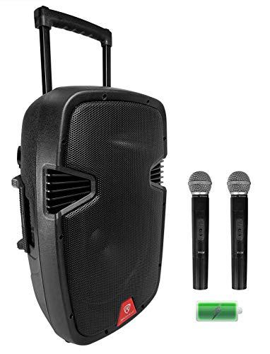"Rockville RAM12BT 12"" Rechargeable Powered 600W DJ PA Speaker, 2 Mics, Bluetooth, and TWS Wireless Stereo Linking (RAM12BT V2)"