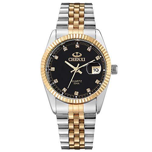 XLORDX Herren Armbanduhr Analog Quarz Datum Gold mit Edelstahl Schwarz