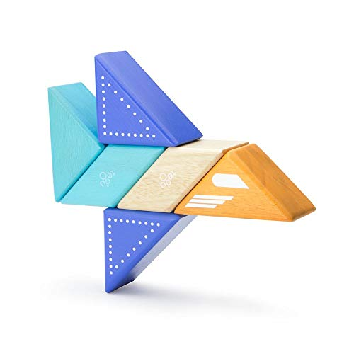 6 Piece Tegu Travel Pal Magnetic Wooden Block Set, Jet Plane