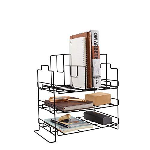 Desk Organizer, Desktop File Holder, Office Supplies Letter Tray, Desktop Storage Rack w 4 Stacking Sorter Sections for Office Home, Black,Screws Free Design