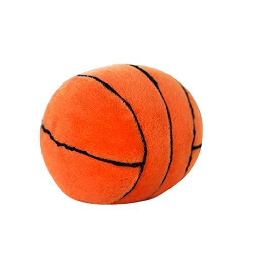 Toyvian Basketball Plüsch Kissen Flauschige Gefüllte Weiche Sportball Quietschende Spielzeug Geschenk für Kinder Junge Kleinkinder Kleinkind (Orange)