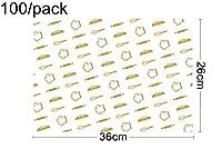 MAODING 36 * 26センチメートル、100 /パック - ケータリング用品、チーズフレンチフライワックスは、テキストを印刷クラフト紙の食品ラップをテイクアウト (Color : Army Green)