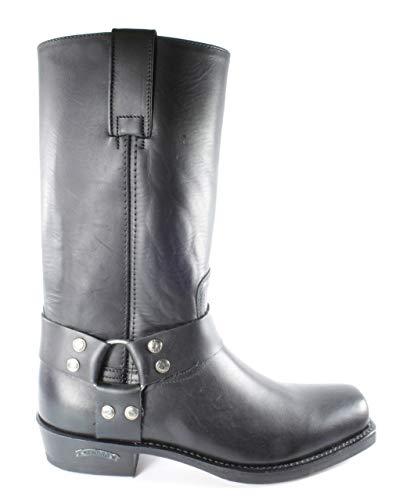 Sendra Boots 1918 Pete Negro Mujer Hombre Biker Basic Western Cowboy Botas de vaquero con punta cuadrada ligera absaztz fija decorativa correas de cuero auténtico, color Negro, talla 40 EU