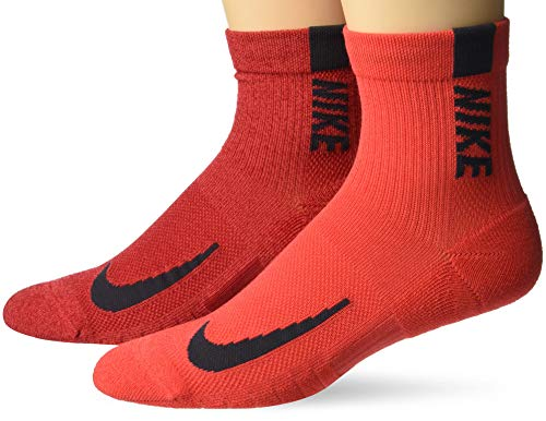 Nike Unisex Nike Multiplier Running Ankle Socks (2 Pair), Multi-Color, Large