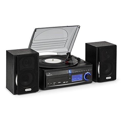 AUNA DS-2 - Impianto Stereo , Impianto Stereo Compatto , Giradischi , Lettore CD , Radio FM , USB SD , Funzione Orologio e Sveglia , Cofdificatore MP3 , Ingresso AUX , 2 x Casse , Nero