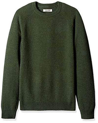 Amazon Brand - Goodthreads Men's Lambswool Stripe Crewneck Sweater, Hunter Green, Medium