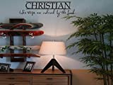 Calcomanía para pared con nombre de niño cristiano con texto en inglés 'His Steps are Ordered by The Lord con nombre personalizado para pared con palabras