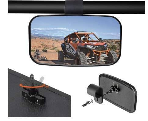 "2020 UTV Mirror, UTV Rear View Mirror for 1.5"" - 2"" Roll Cage with Shatter-Proof Tempered Glass Fits to Polaris Ranger, RZR Can Am Commander, Maverick Yamaha Viking, Rhino, Honda, Gator Mirrors"