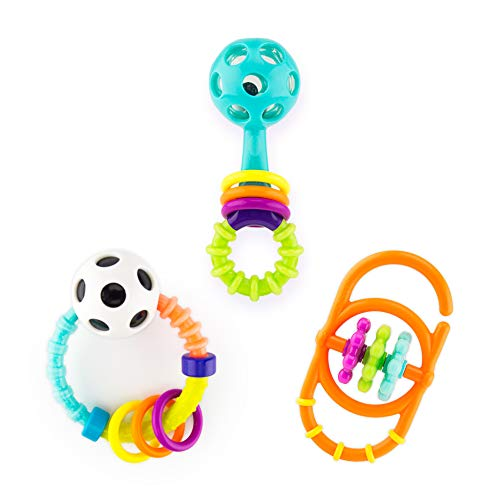 Sassy My First Rattles Newborn Gift Set with 3 Soft and Flexible Rattles, Ages 0+ Months