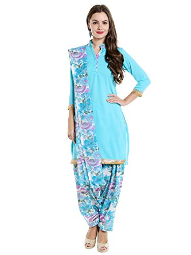 Ishin Women's Synthetic Dress Material (Ddrrjgr-Rmzm9058_Blue_One Size)