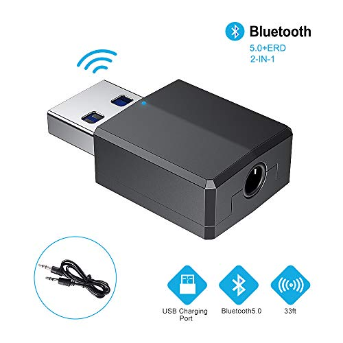 RAYROW Bluetooth Adapter 5.0 Audio Sender, Empfänger 2-in-1 USB Adapter mit 3,5 mm Digital Audio Kabel, Digital Aux Kabel für PC/Laptop/Smartphone/Lautsprecher/Radio/CD/MP3 Player