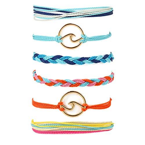 Starain VSCO String Wave Bracelet for Women Girls Boho Handmade Waterproof Adjustable Braided Rope Beach Bracelets Set