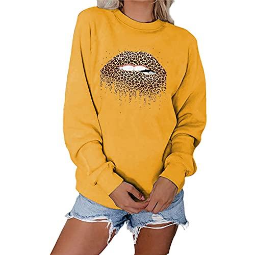 SLYZ Maglioni Autunnali da Donna Europee E Americane, Magliette Casual A Maniche Lunghe con Stampa Labbra da Donna, Top Larghi da Donna