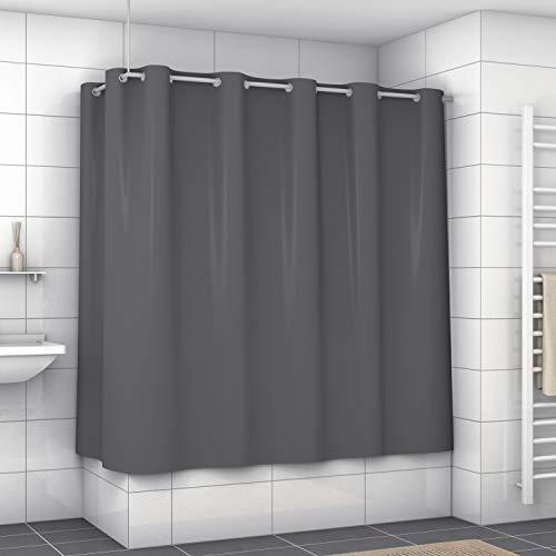 Exklusiver Duschvorhang mit Metallösen (dunkelgrau, 120 x 200 cm)