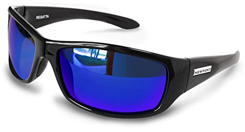 Newport Polarized Regatta +2.00 Bifocal Sunglasses Black Frame with Blue Mirror Polarized Lenses.