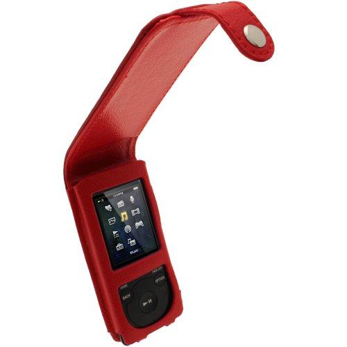 igadgitz U2090 Funda Flip Piel Compatible con Sony Walkman NWZ-E473, E474, E574, E575 MP3 Player - Rojo