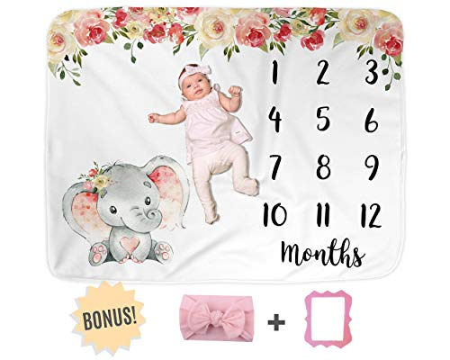 Elephant Baby Monthly Milestone Blanket, Name Month Blankets Girl, Months Photo Props Infant Newborn Photography Mat, Floral Pink Nursery Shower Gift New Moms, Track Growth (50'x40', Minky)