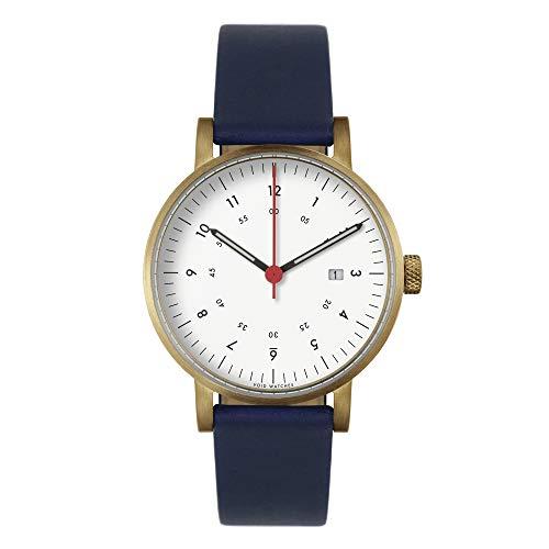 V03D Date Orologio analogico da polso con data (stile: cassa in oro opaco e quadrante bianco e cinturino blu royal blu)