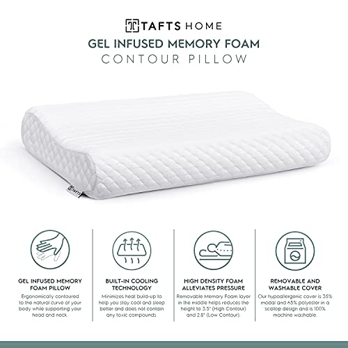 TAFTS Adjustable Memory Foam Pillows for Sleeping, Cooling Orthopedic Neck Pillow, Cervical Back, Stomach & Side Sleeper Pillow for Neck Pain, Bed Pillows, Incl. Washable Modal Cover, Firm CertiPUR-US