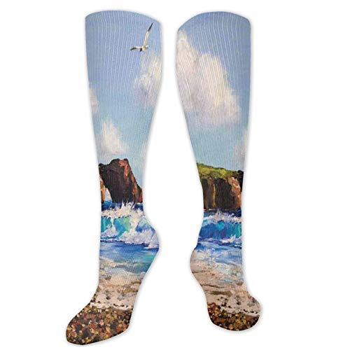 Country Fashion Compression Socks,Painting Of A Sea Coast With Rock,Performance Polyester Cushioned Athletic Crew Socks for Running,Athletic,Blue Brown White -19.8 inch