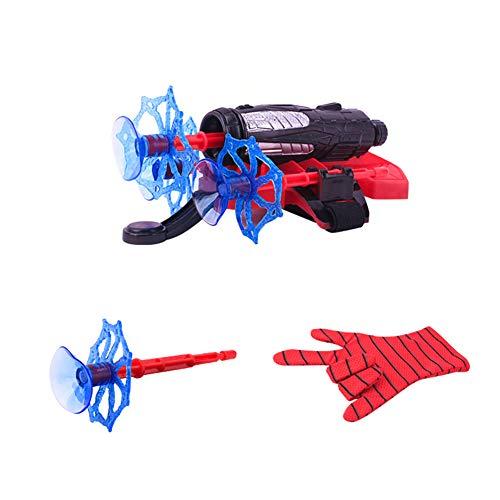 LICHENGTAI Guantes de Spiderman para niños, Spiderman Web, juego de juguete de lanzador, lanzador + 3 balas + guantes, juguetes educativos divertidos para niños