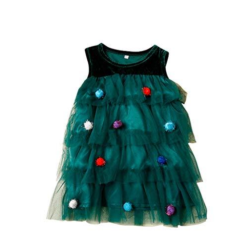 Navidad POLP Niña Vestidos de Vestir Bebés Tutú Vestidos Sin Mangas de Malla Verde Niñas Falda Princesa Vestido de árbol Disfraz