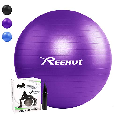REEHUT Anti-Burst Gymnastikball + Pumpe mit Belastbarkeit bis zu 500kg Core-Training Fitness Yoga Pilates Ball - Violett 55CM