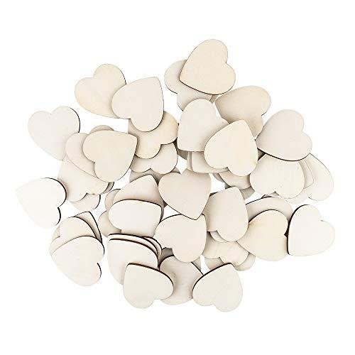 Idee con cuore in legno   6 x 6 cm   3 mm di spessore   50 pezzi   ideale come decorazione da tavolo, decorazione per matrimoni e bricolage