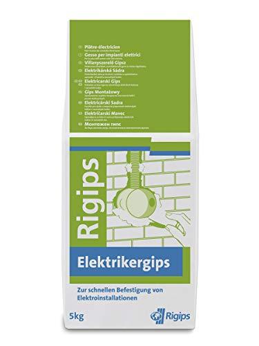Knauf Bau-Gips / Elektriker-Gips, 5-kg – schnellhärtender, hochfester Montage-Gips zum Setzen und Fixieren von Elektro-Installationen, stoß- und druckfest, gemäß DIN EN 132792