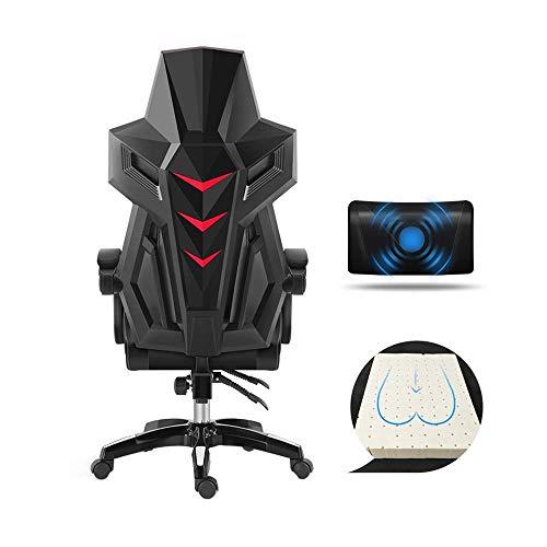 N/Z Daily Equipment Chair Drehstuhl Rennstuhl mit Fußstützenhöhe Höhenverstellbar Einteilige Rückenlehne Pu Ledersessel Gaming-Stuhl mit hoher Rückenlehne und Massage-Lordosenstütze a