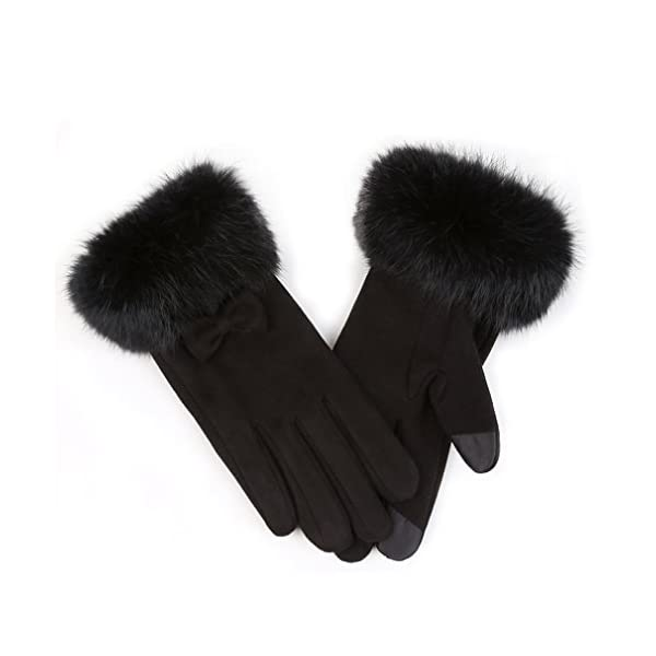 APAS Womens Winter Chamois Leather Gloves with Fluffy Rabbit Fur Cuff Splicing Fleece Lining Thermal Screen Touch Gloves