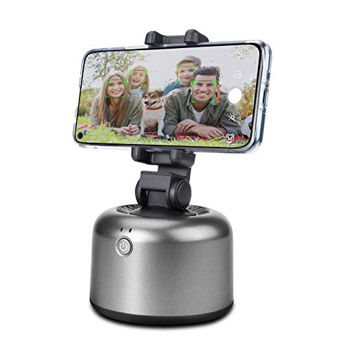 Tracking Holder Auto Face Object Tracking Camera Mount Smart Selfie Stick 360 Rotation Shooting Camera Cell Phone Holder Tripod Stand Selfie Robot Hand-Free for Live Streaming Video Call Vlog (Black)