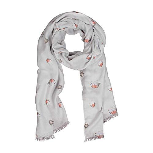 Wrendale Fröhlicher Schal mit Rotkehlchen-Motiv (Grau)