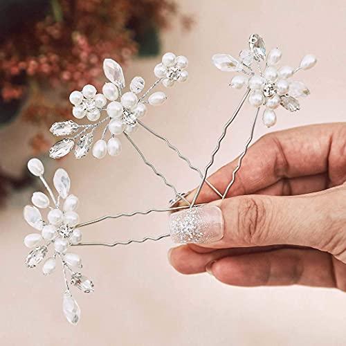 Ushiny Hochzeits-Haarnadeln, silberne Perlen, Braut-Kopfschmuck, Strass-Haarschmuck für Frauen und Mädchen (3 Stück)