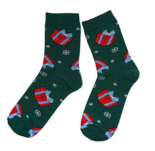 Weri Spezials Frohe Weihnachten Herren Socken mit lustigen Weihnachtsmotiven! In mehreren Mustern- & Farbvariationen! (43-46, Dunkelgrün Weihnachtsschmuck)