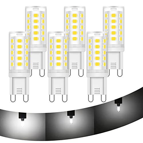 6x G9 Dimmbar LED Lampen HOMEOW Kaltweiß Tageslicht 6000K LED Glühbirne 5W Stiftsockellampe Ersetzt 40W Halogenlampen 3 Stufig Dimmen 260° Abstrahlwinkel 420LM G9 Sockel LED Leuchtmittel AC 220V Ra 83