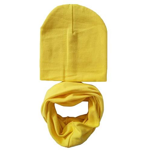 Invierno Primavera bebé Sombrero Conjunto de Bufanda algodón bebé niño niña Sombrero Gorra con Estampado de Estrellas niños Sombreros recién Nacidos Gorro Beanie niños Gorras-Yellow