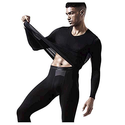 Hatop- Men Thermal Underwear Set Compression Base Layer Long John Set Elastic Slim Breathe Mesh Sweat Wicking Thermal Union Suit