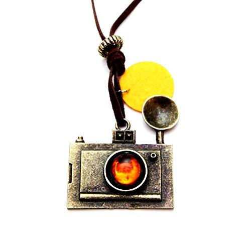 Vintage camera halsketting met fotoapparaat, ca. 70 cm lange ketting - spiegelreflex hanger goud brons DSLR