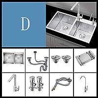 キッチン世帯304ステンレス鋼の食器洗いシンク、手洗い野菜洗面器、ナノシンクダブルタンク、オン/オフステージインストール、72 * 40