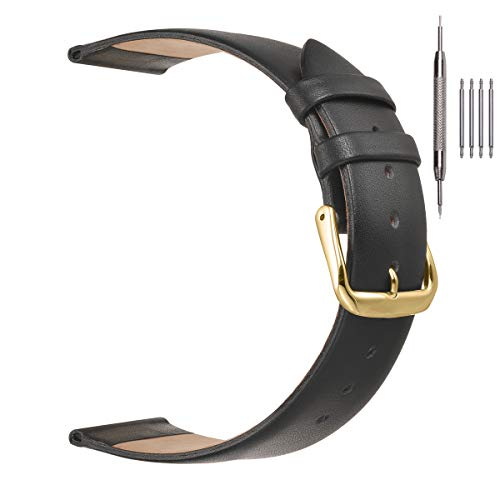 20mm Black Leather Watch Bands for Men Women ,EACHE Leather Watch Replacement Straps Black Watch Bands With Gold Buckle