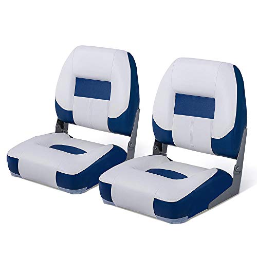 Seamander Marine Low Back Boat Seat (White/Blue(2-Pack 111S))