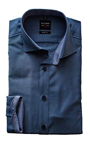OLYMP Hemd Level 5 Five Body Fit, Gemustert, Langarm 64cm, Comfort Stretch, Royal Kent Kragen (39, Blau)