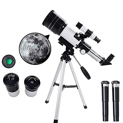 Telescopio de astronomía monocular portátil profesional para principiantes y niños con trípode ajustable Adaptador de teléfono inteligente Filtro de luna Alcance de observación al aire libre de viaje,