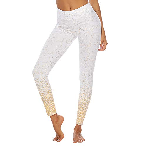 LEEDY Ausverkauf! Hohe Taille Sport Leggings Damen Fitnesshose Heißprägen Hüfte Yoga Sporthose Yogahose Tummy Control Lange Hose