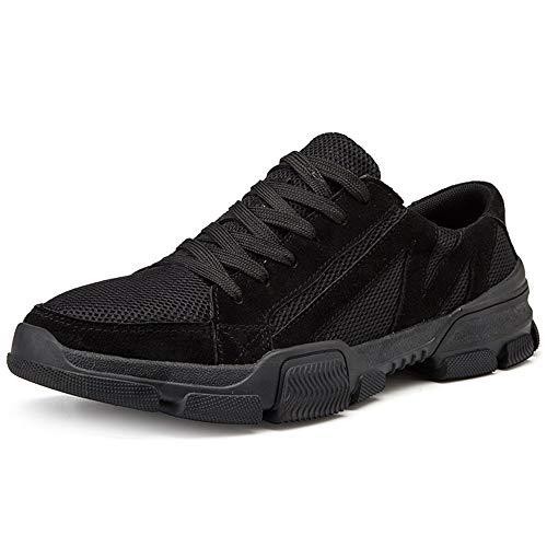 Ys-s Personalización de la Tienda Zapatos atléticos para Hombres Zapatos Deportivos Lace Up Estilo Material de Malla débil y Flexible Color sólido Cómodo y Ligero (Color : Black, Size : 40 EU)