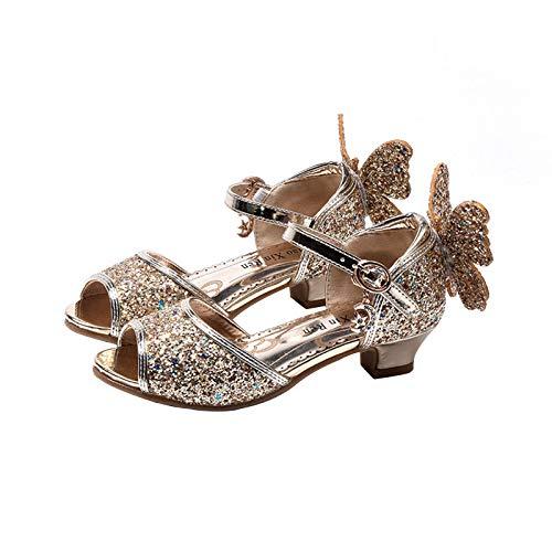 TiaoBug Mädchen Geschlossene Ballerinas Prinzessin Pailletten Schuhe Mary Jane Halbschuhe zu Blumenmädchenkleid Festliche Kleider Gold Sandalen 26