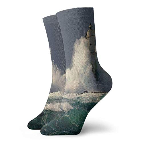 NA vuurtoren in Sardinië Italië Splashing surfen nieuwigheid bemanning sokken atletische sokken kousen 30CM